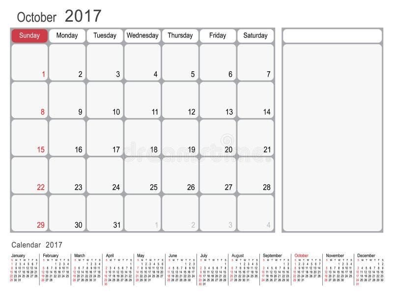 Kalenderstadsplanerare Oktober 2017 stock illustrationer