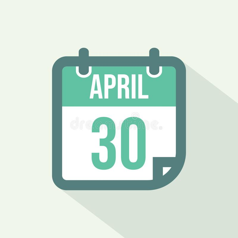 Kalendersymbol av 30 April - vektor stock illustrationer