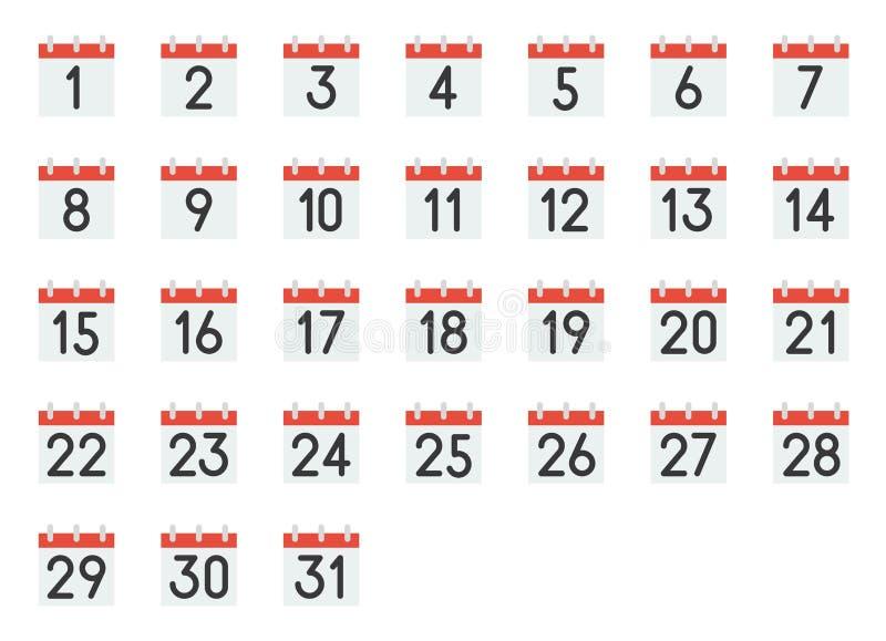 Kalendersymbol med nummer 1-31, perfekt PIXEL royaltyfri illustrationer