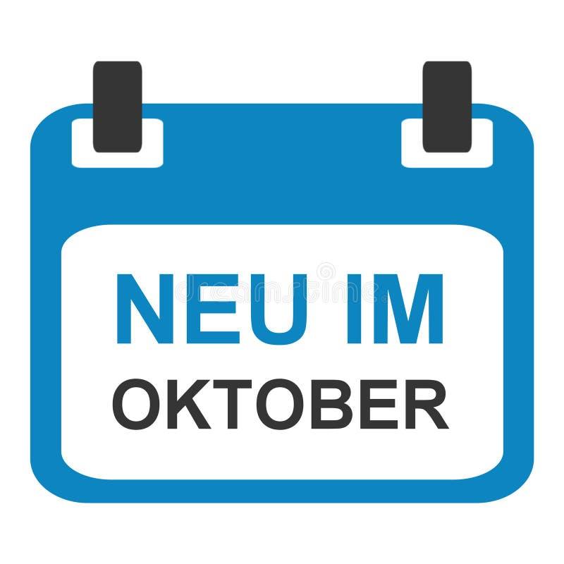 Kalendersymbol: Nytt i Oktober tysk stock illustrationer
