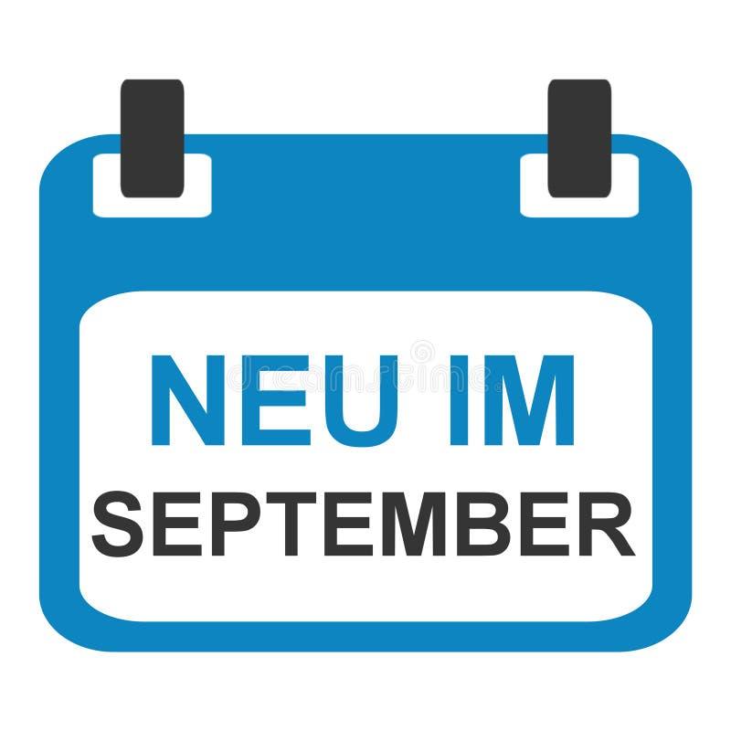 Kalendersymbol: Nytt i September tysk vektor illustrationer