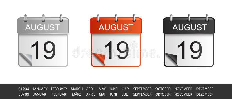 Kalendersymbolen ställde in med utbytbar månad och numrerar - illustrationen för vektorn 3D - isolerat på vit bakgrund stock illustrationer