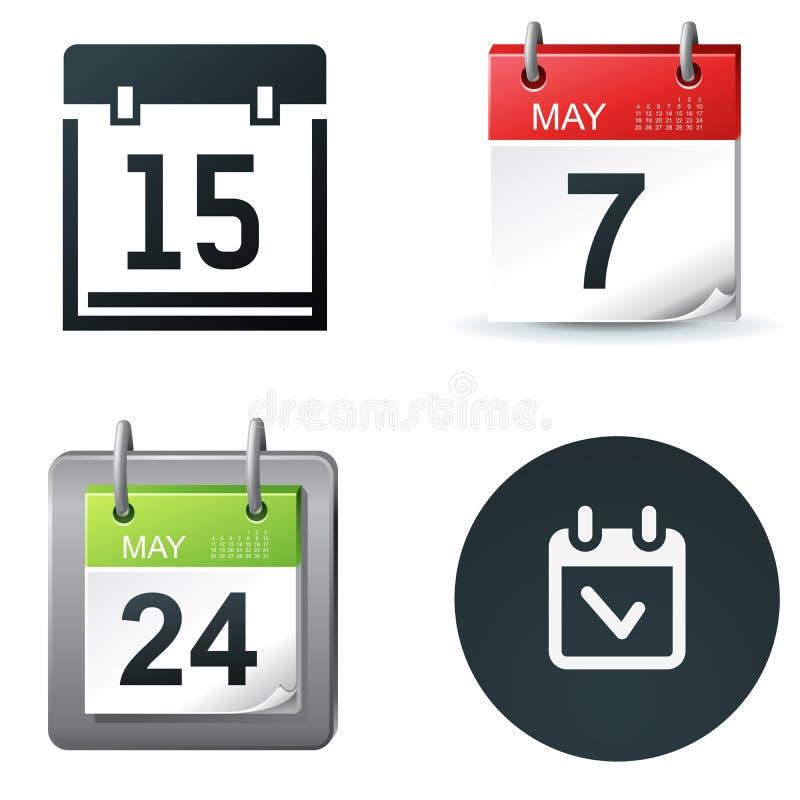 kalendersymboler royaltyfri illustrationer