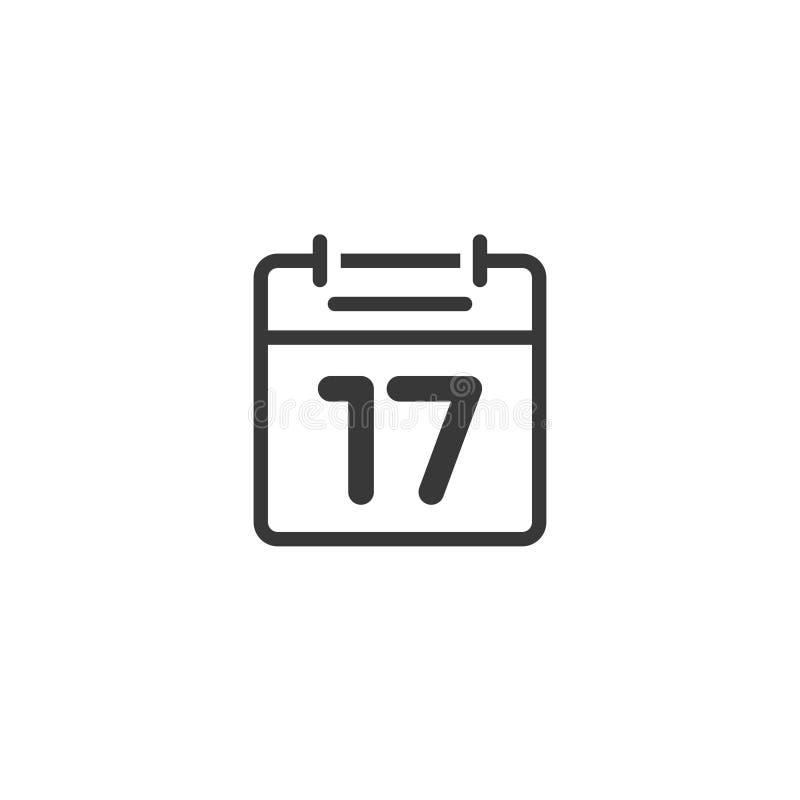 Kalendersymbolslinjen den isolerade vektorn, skisserar den svartvita lägenheten stock illustrationer