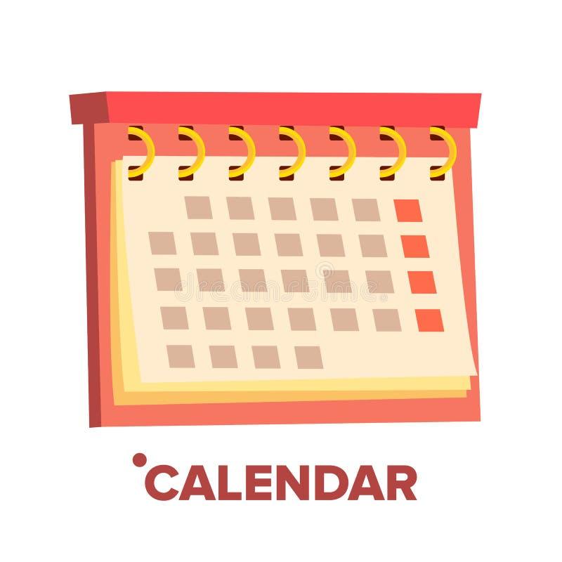 Kalendersymbolsvektor Årligt objekt datum Isolerad plan tecknad filmillustration royaltyfri illustrationer