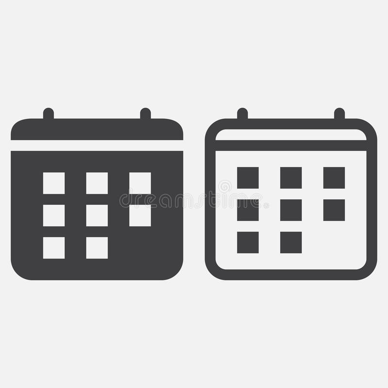 Kalendersymbolsvektor som isoleras på vit stock illustrationer