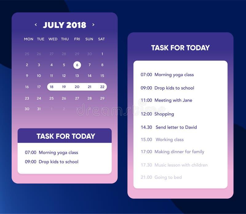 Kalenderui element Kalender App met om Lijst en Takenui UX Ontwerp voor Mobiele Telefoon te doen royalty-vrije illustratie
