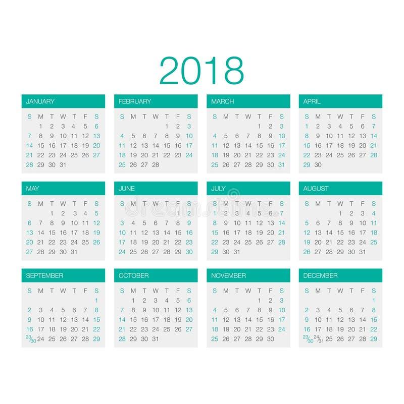 Kalendervector 2018 stock afbeelding