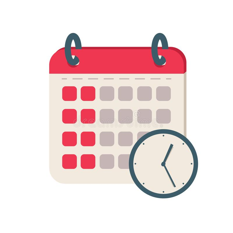Kalenderzeitikone Flache Illustrationsvektorikone für Netz Tagesordnungsmappen-Konzeptdesign für die Planung vektor abbildung