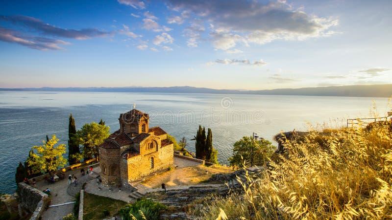 Kaleo海湾的-奥赫里德湖马其顿圣徒约翰 免版税库存照片