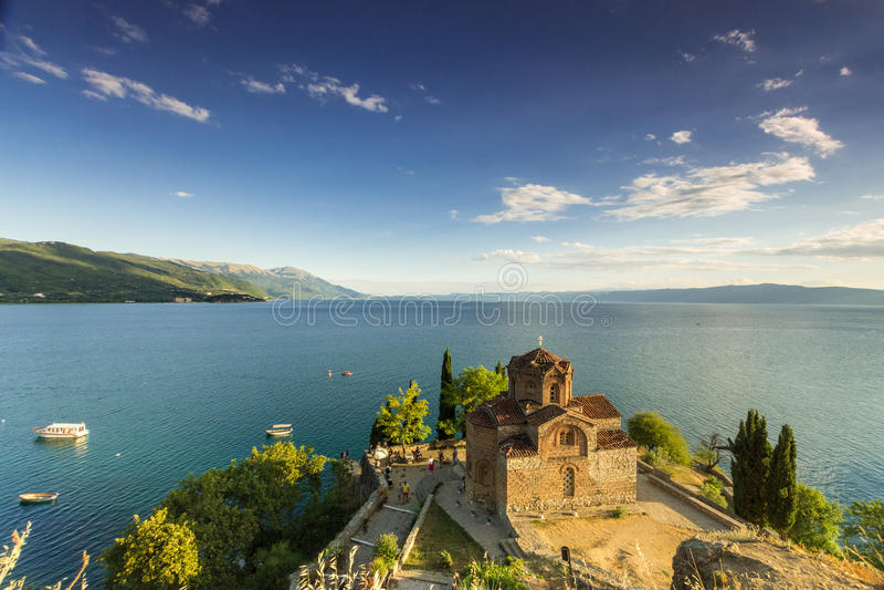 Kaleo海湾的-奥赫里德湖马其顿圣徒约翰 库存图片