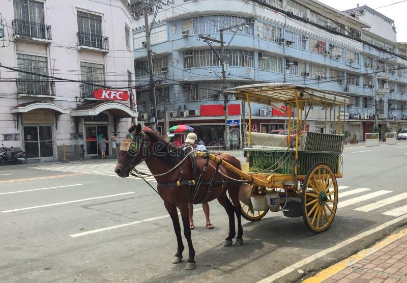 Kalesa ( oder Pferd Carriage) in der historischen Stadt von Intramuros stockfotografie