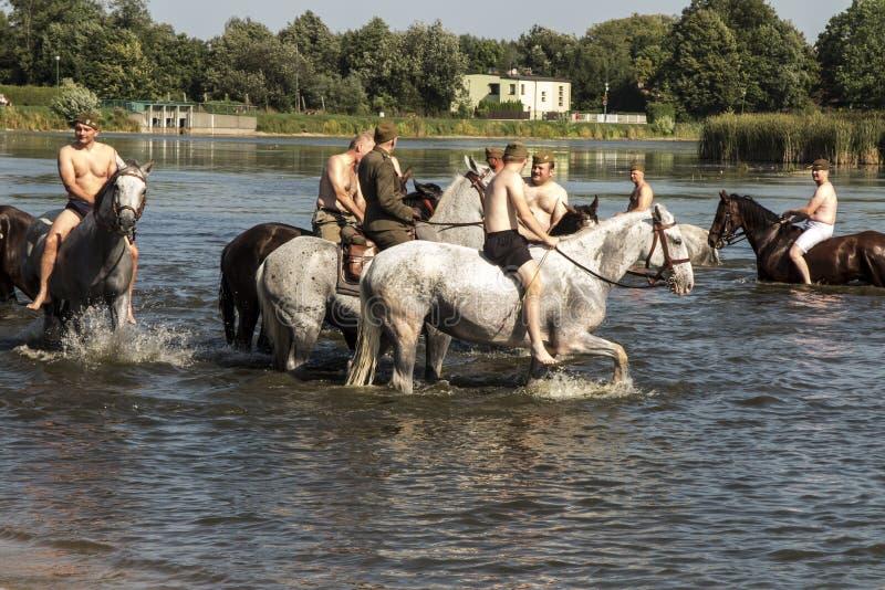 Kalety, Poland - August 31, 2019: Historic Third Silesian Uhlan Regiment on horses on august 31, 2019 in Kalety - Zielona, Poland. Silesia royalty free stock photos