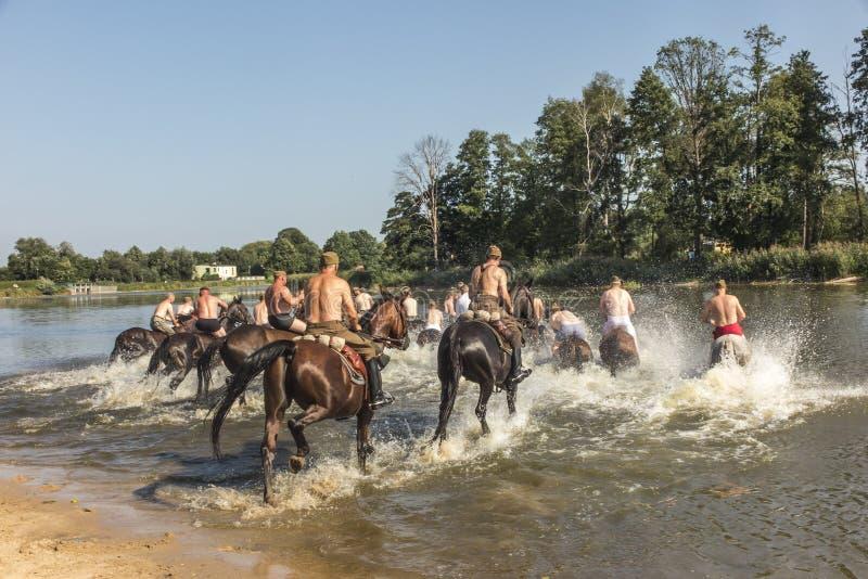 Kalety, Poland - August 31, 2019: Historic Third Silesian Uhlan Regiment on horses on august 31, 2019 in Kalety - Zielona, Poland. Silesia stock photos