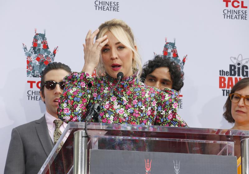 Kaley Cuoco, Simon Helberg and Kunal Nayyar. At the handprints ceremony for `The Big Bang Theory` held at the TCL Chinese Theatre IMAX in Hollywood, USA on May royalty free stock image