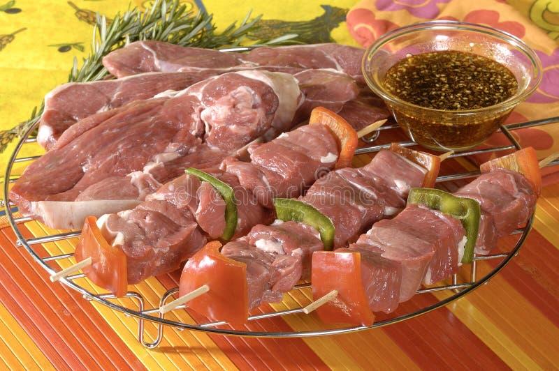 Kalfsvlees met rundvlees kebabs royalty-vrije stock foto