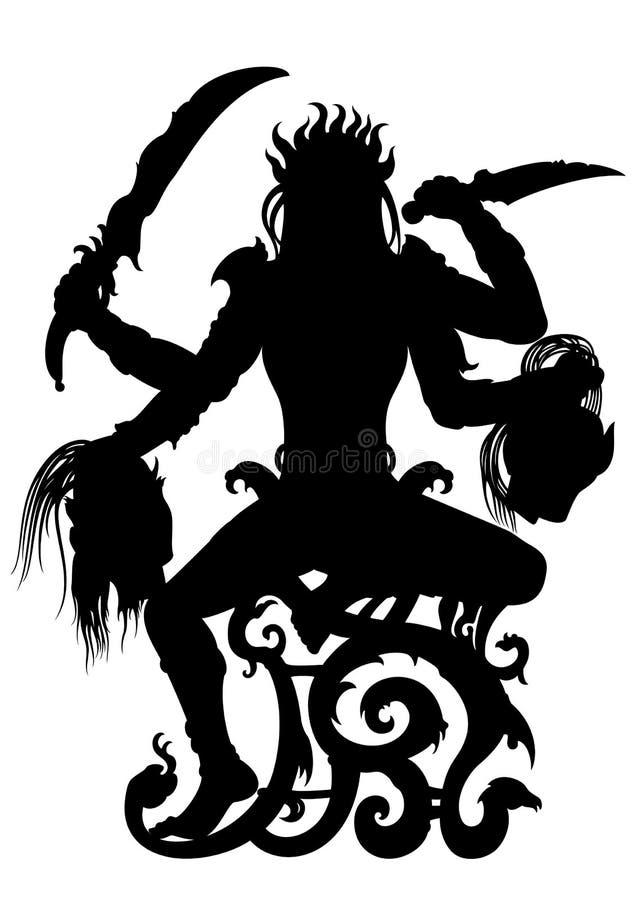 Kali bogini Indiańska sylwetka ilustracji