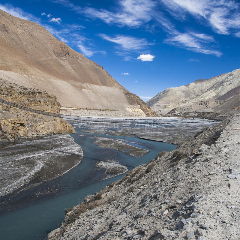 Kali Gandaki is een rivier in Nepal en India, een linkerschatplichtige van royalty-vrije stock foto's