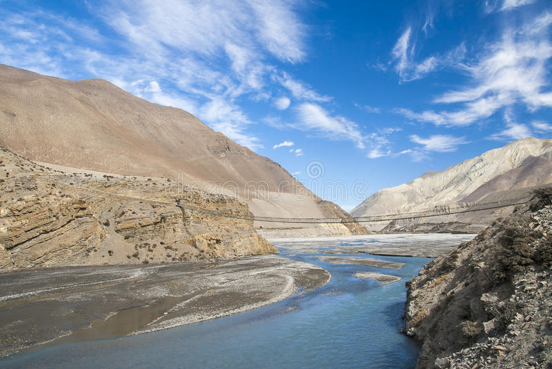 Kali Gandaki est une rivière au Népal et l'Inde, a quitté le tributaire de photos libres de droits