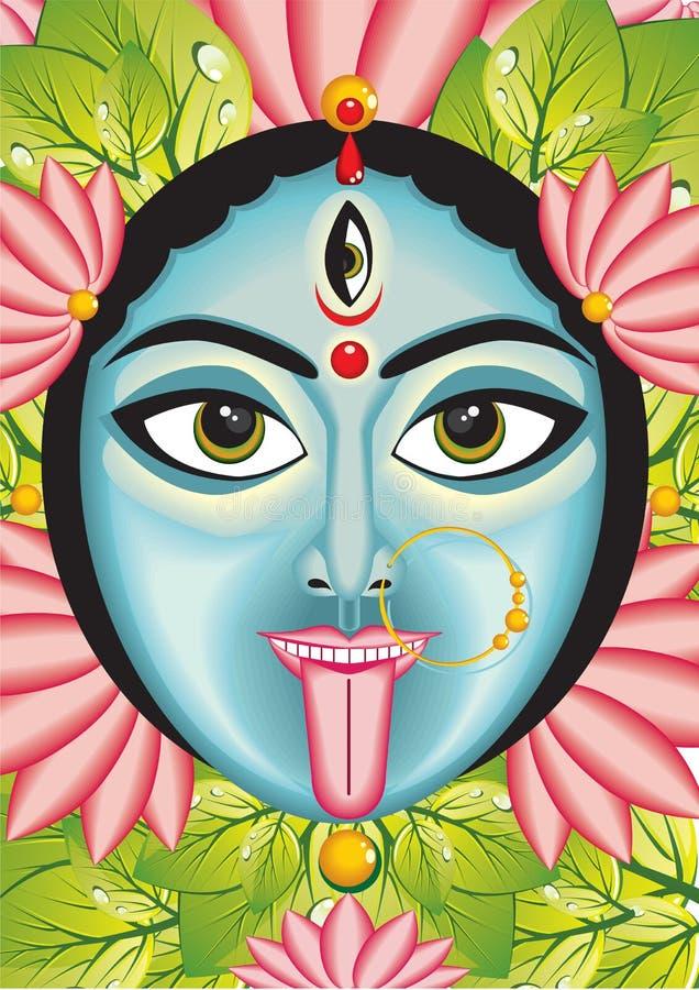 Kali - Indian Goddess face stock illustration