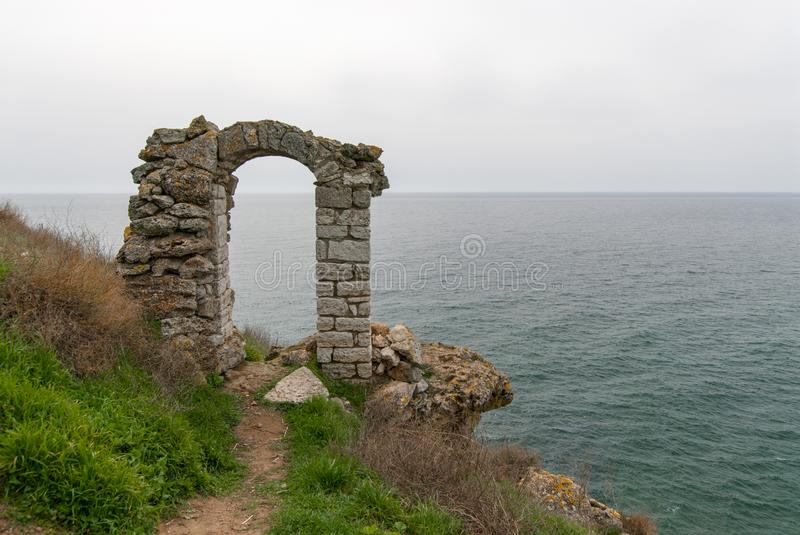 Kaliakra fortress bulgaria old arch gate through virgins throw themselves in the sea legend royalty free stock image