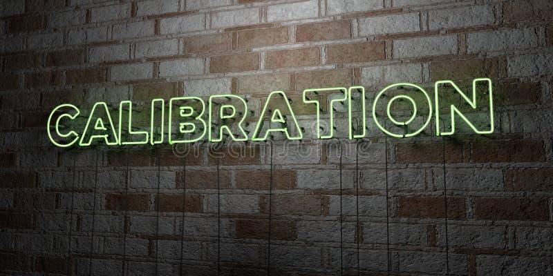KALIBERBEPALING - Gloeiend Neonteken op metselwerkmuur - 3D teruggegeven royalty vrije voorraadillustratie stock illustratie