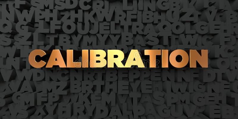 Kaliberbepaling - Gouden tekst op zwarte achtergrond - 3D teruggegeven royalty vrij voorraadbeeld vector illustratie