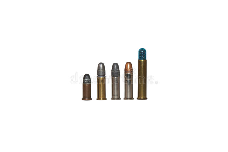 22 kaliberu pociska, różni typ zdjęcie stock