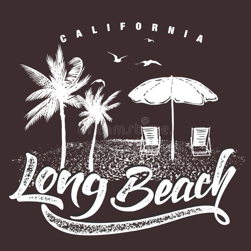 Kalifornia Długa plażowa typografia dla koszulka druku, wektorowa ilustracja ilustracji