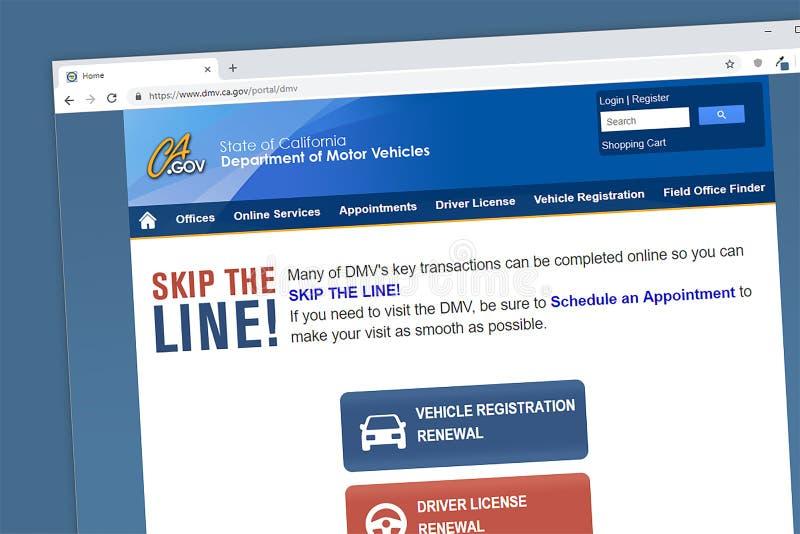 Kalifornia dział pojazdów mechanicznych DMV strony internetowej homepage fotografia royalty free