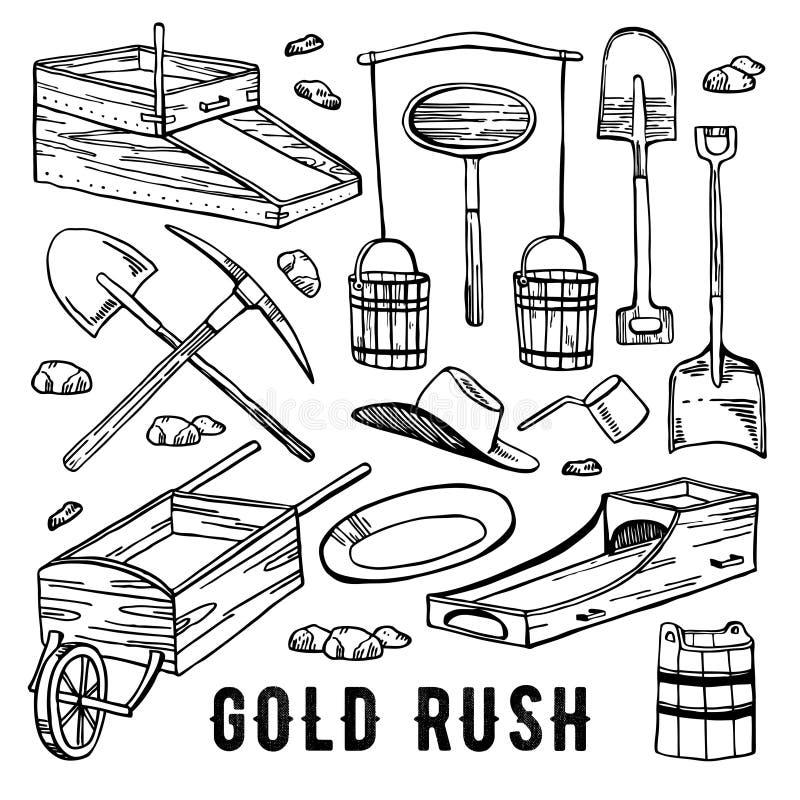 Kalifornia gorączki złotej rocznika konturu grafiki wektorowa ręka rysujący set Dziejowi złociści kopalnictw narzędzia ilustracja wektor