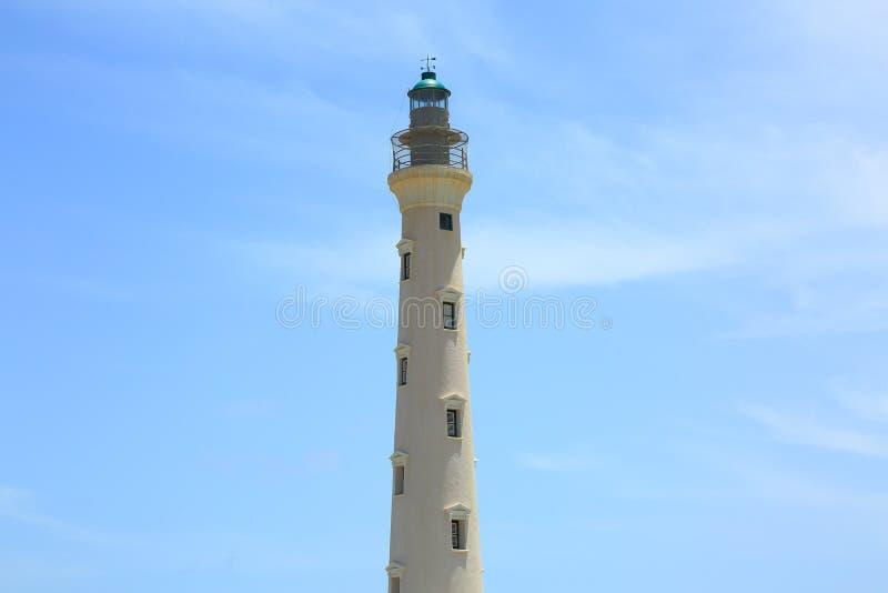 Kalifornia latarnia morska na niebieskiego nieba tle odizolowywającym, Aruba linia brzegowa zdjęcie royalty free