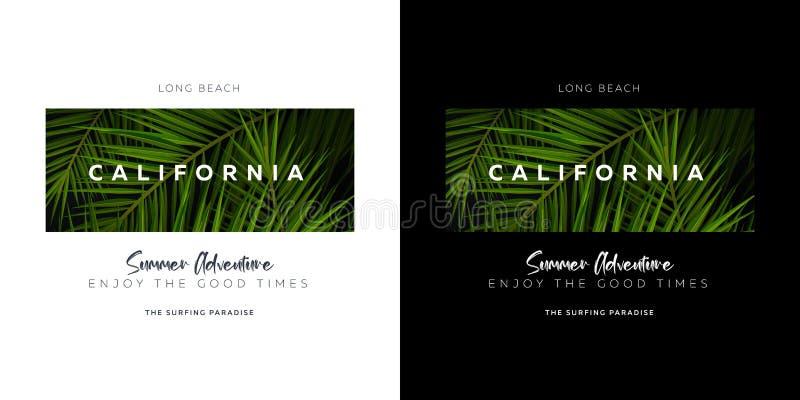 Kalifornia, Long Beach USA Palma opuszcza typografii koszulki druk ilustracji