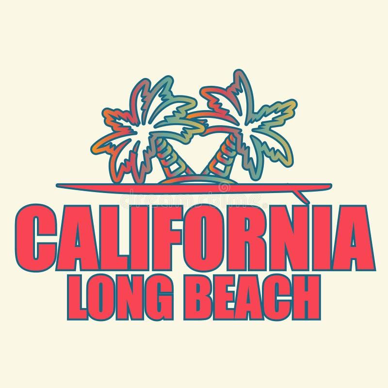 Kalifornia Long Beach - wektorowa ilustracja dla koszulki i inny drukujemy produkcję royalty ilustracja