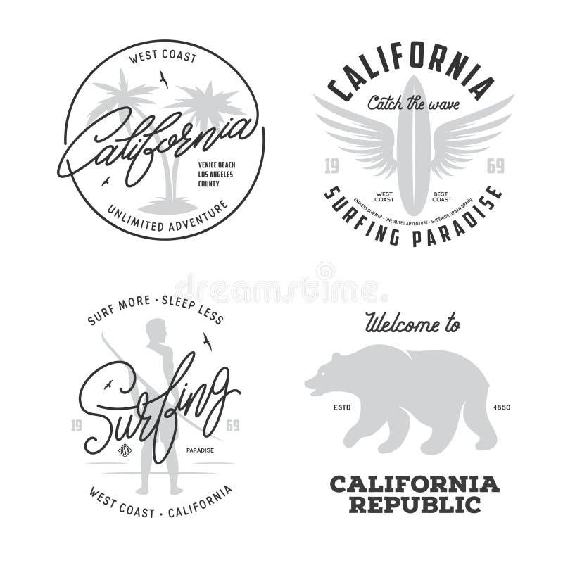 Kalifornia odnosić sie koszulka rocznika stylu grafika ustawiać również zwrócić corel ilustracji wektora royalty ilustracja