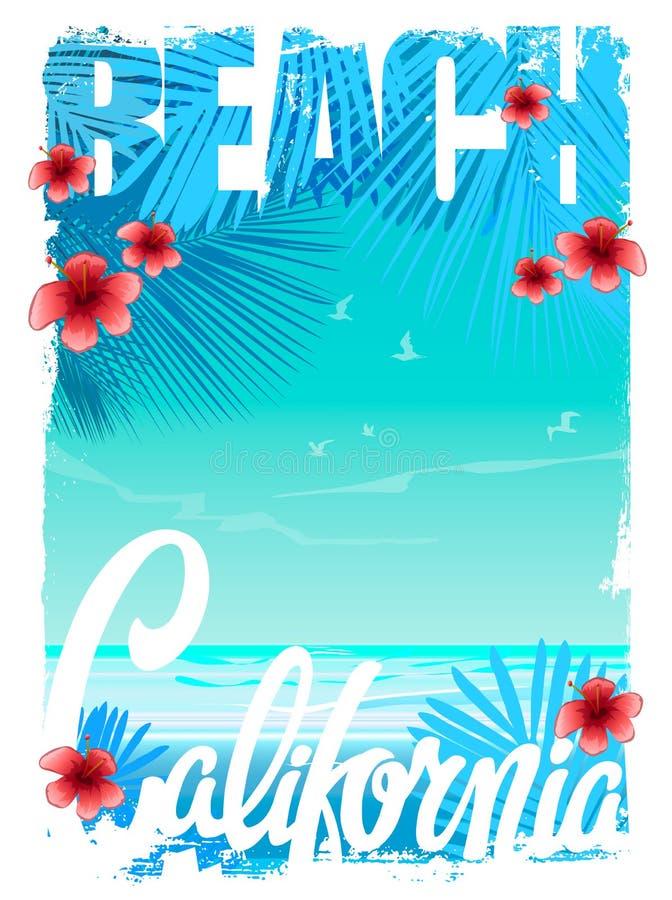 Kalifornia plaży koszulki grafika, wektory ilustracji