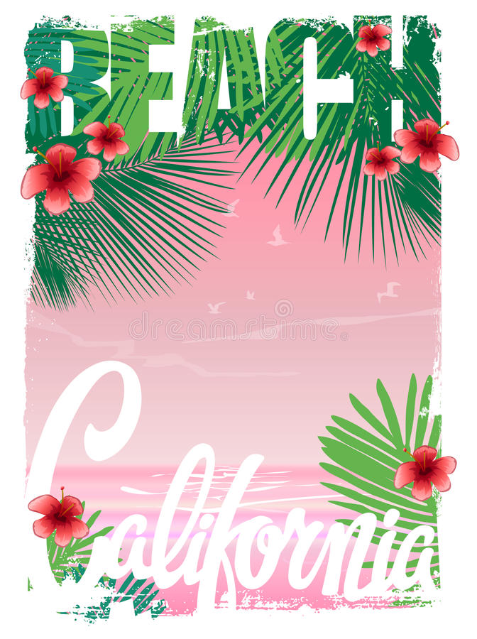 Kalifornia plaży koszulki grafika, wektory royalty ilustracja