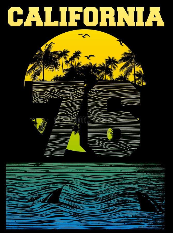 Kalifornia plaży typografii grafika royalty ilustracja