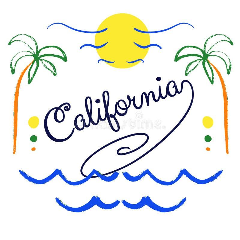 Kalifornia ręka rysujący literowanie ilustracji