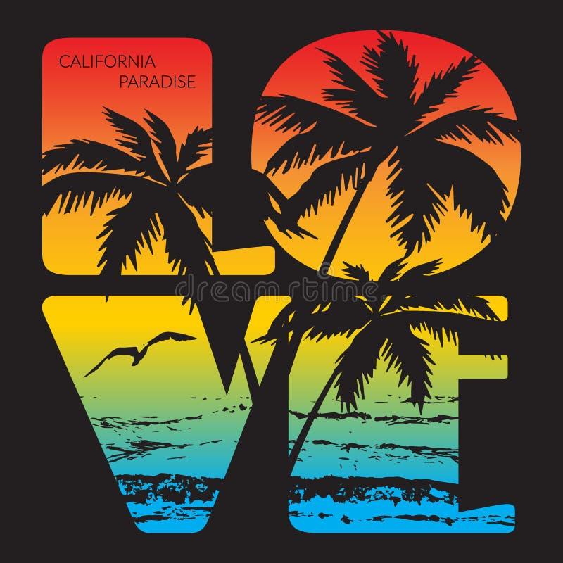 Kalifornia raju typografii grafika ilustracji
