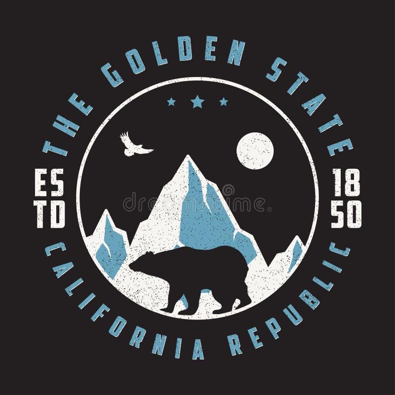 Kalifornia rocznika t koszula z niedźwiedziem, górami i orłem grizzly, Retro typografii grafika dla projekta trójnika odzieży i k ilustracji
