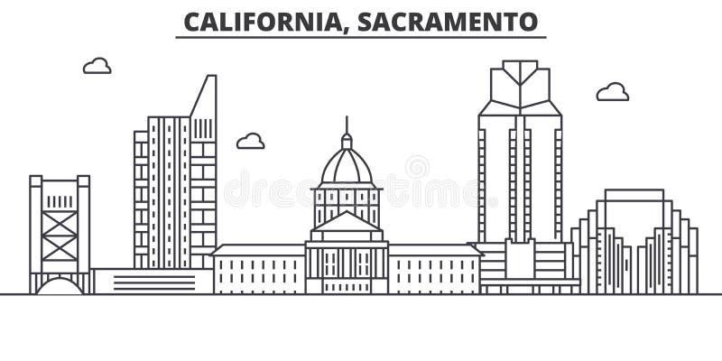 Kalifornia Sacramento architektury linii linii horyzontu ilustracja Liniowy wektorowy pejzaż miejski z sławnymi punktami zwrotnym royalty ilustracja