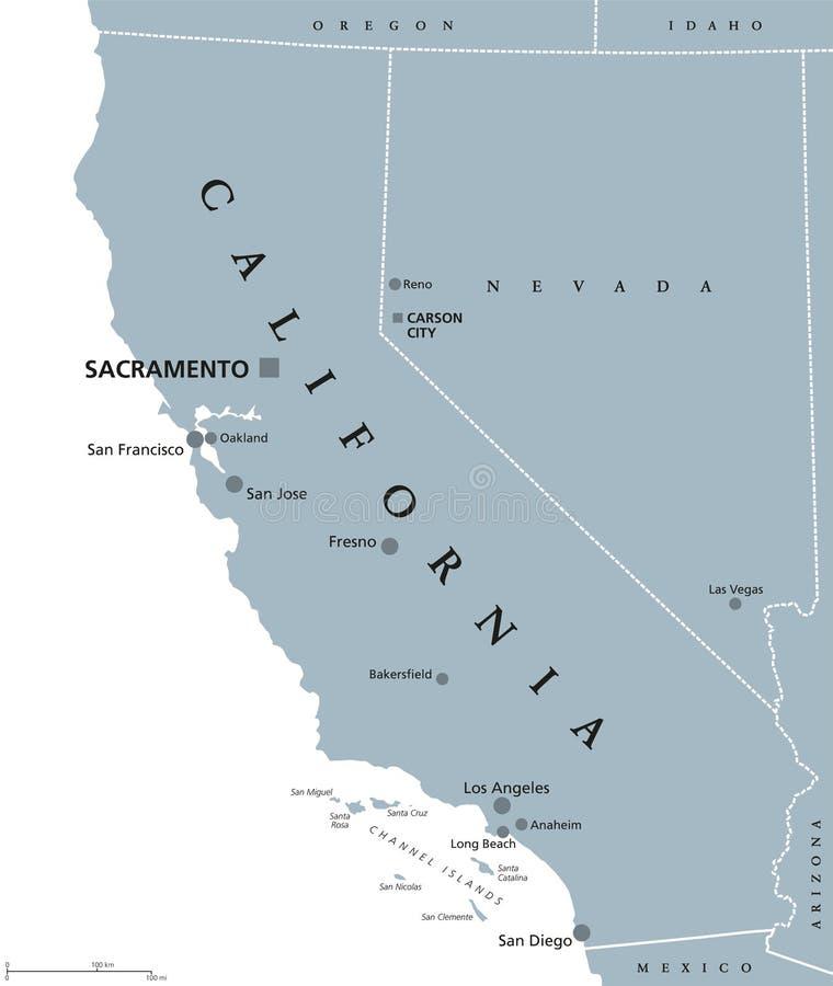 Kalifornia Stany Zjednoczone polityczna mapa ilustracji