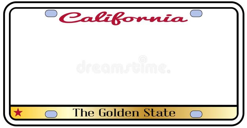 Kalifornia tablica rejestracyjna Odizolowywająca ilustracja wektor