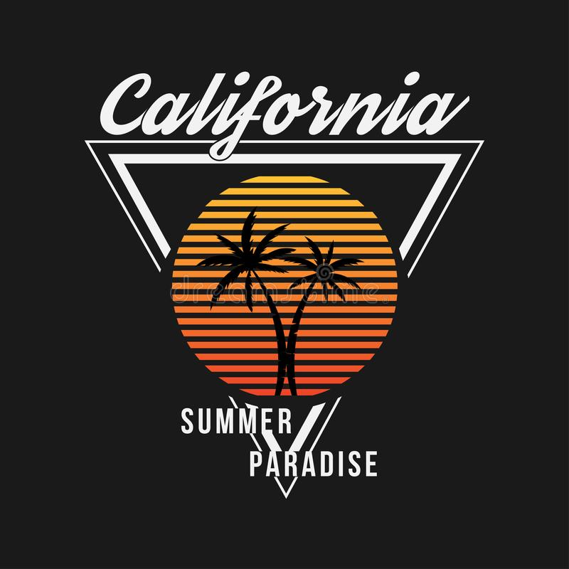 Kalifornia typografia dla koszulki Lato projekt Koszulki grafika z zwrotnik palmami ilustracji
