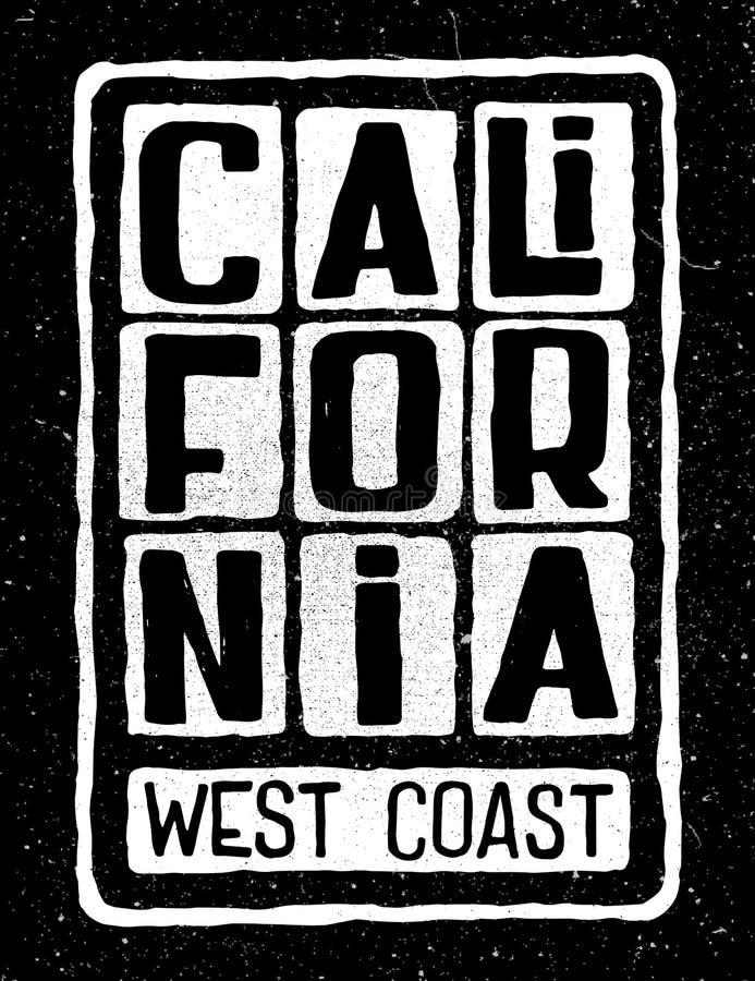 Kalifornia zachodniego wybrzeża plakat ilustracja wektor
