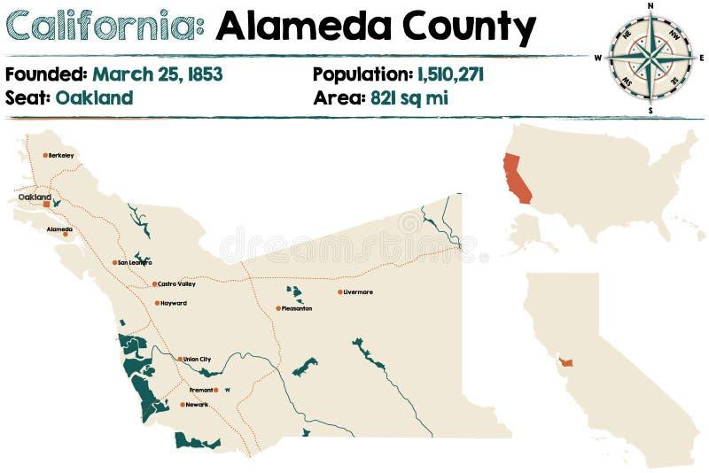 Kalifornien - Alameda County översikt royaltyfri illustrationer