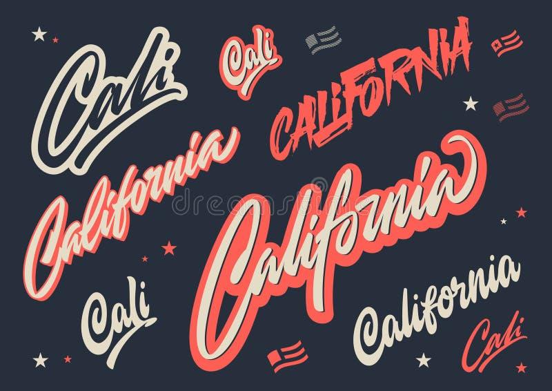 Kalifornien-Bürstenskript-Vektorbeschriftung lizenzfreie abbildung