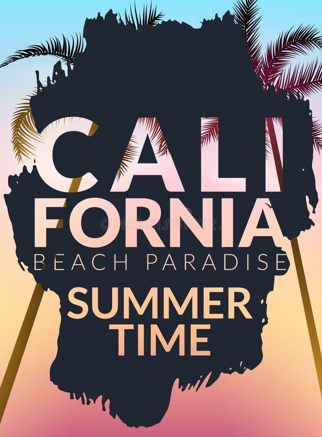 Kalifornien bakgrund med gömma i handflatan Vektorbakgrundsstrand Tropisk banerdesign för sommar Illustration för paradisaffischm royaltyfri illustrationer