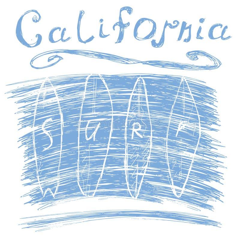 Kalifornien bränningtypografi, diagram för t-skjorta printingdesign, vektoraffisch, emblemAppliqueetikett royaltyfri illustrationer